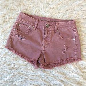 AEO pink distressed cut off jean shorts